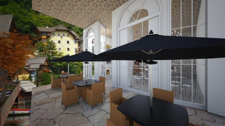 Render Interiorismo y decoración Restaurante cafetería